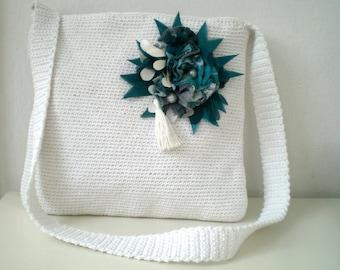 Crochet Messenger Bag with Teal Green Brooch