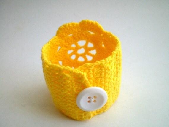 Crochet Lace Cuff Wrist band in Yellow
