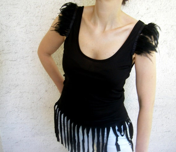 SALE %25 Off Womens Top Tank with Feathers and Fringes, Black Tshirt
