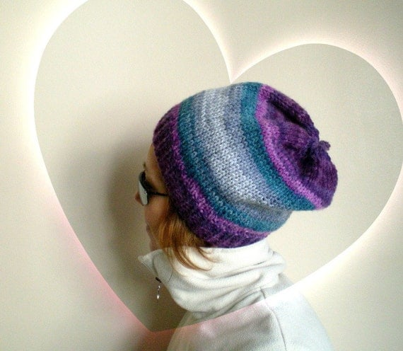 Women Beret in Blended Purple Gray Teal Slouchy Hat Knit Beanie