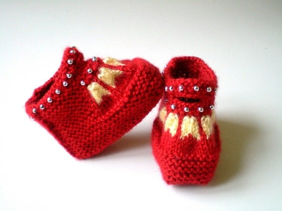 Red Baby Booties, Knit Newborn Shoes, Size Newborn to 6 months