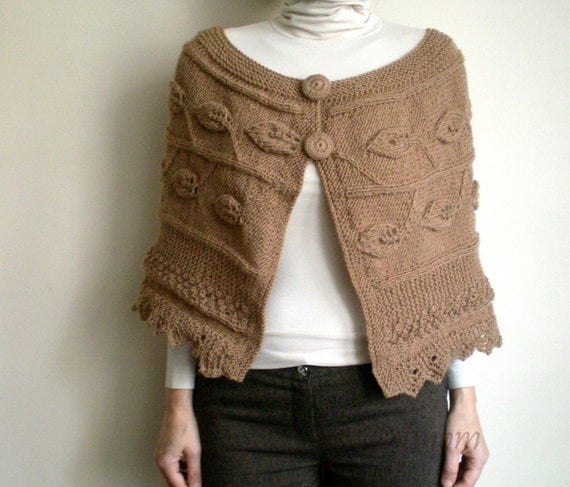 Camel Brown Hand Knitted Poncho, Women Cardigan