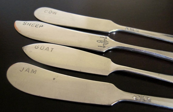 Reserved for Nancy - Two Sets of Upcycled Cheese Knives - Handstamped Vintage Silverware