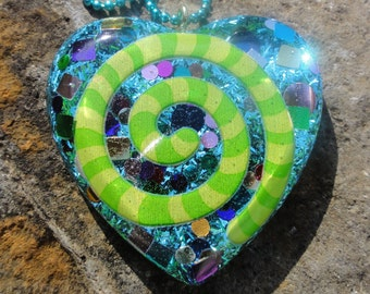Rainbow Confetti Psychedelic Swirl Blue Heart Resin Pendant, Blue Tinsel Glitter Resin Heart Necklace, Lime Green Striped Swirl Crazy Resin
