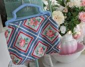 Blue Vintage Barkcloth Sewing Bag...Purse...Tote....Handbag