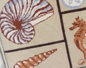 Vintage Beach Cottage....Sea Shell Needlepoint In Frame