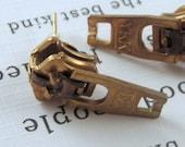 YKK Gold Zipper Pull Earrings