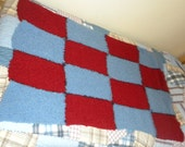 Red Blue  Knitted Quilt
