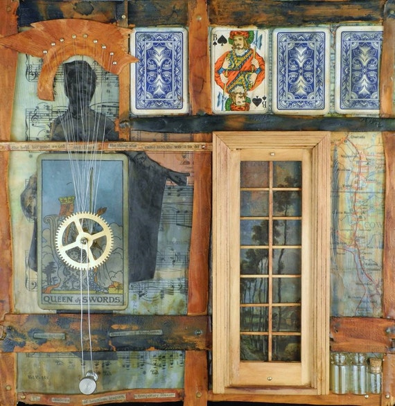 Queen of Swords . . . muted tone wood, collage, poetry assemblage wall or shelf art