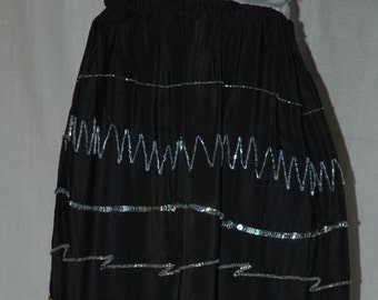 SALE was 49.95. Black Silk, Silver Beaded, Sequined  Skirt. 100 percent silk.  A Designers Den handmade original.   FREE domestic shipping