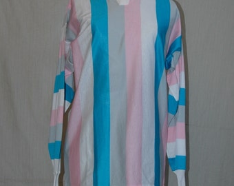 SALE WAS 16.95. Italian Vertical Striped Long Sleeve Cotton Shirt. Pink, White, Blue, Grey  Stripes. overstock.  FREE domestic shipping.