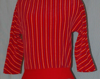 SALE WAS 16.95. Red Velour Top with Blue and Yellow Stripes.  Three quarter length sleeves.  Designers Den overstock, never worn.   FREE DOMESTIC SHIPPING.