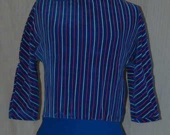 SALE WAS 16.95. Blue Velour Top with orange and Yellow Stripes. Three quarter length sleeves. Designers Den overstock, never worn. FREE DOMESTIC SHIPPING.