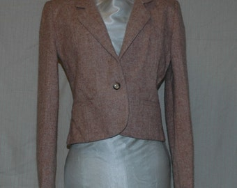 Light Brown  100 Percent Virgin Wool Jacket. Single button down, two front pockets with classic shoulder detail. Designers Den vintage overstock, never worn. Size 9/10. FREE DOMESTIC SHIPPING.