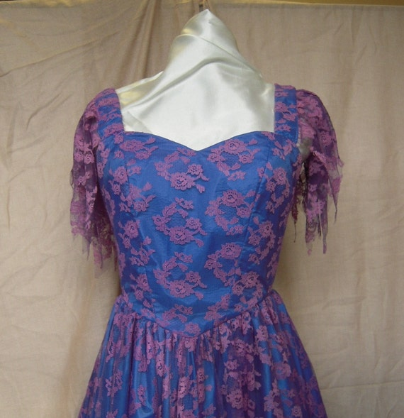 SALE was 74.95. Blue and Mauve Lace Handmade Formal Dress.   A Designers Den original.   FREE domestic shipping