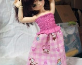 Smocked Kitty Dress for BJD (YO-SD\/LittleFee)