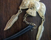 Tribal Boho Eagle Earrings-60's brass eagle w/ brown bone tusk and metallic feather