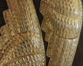 Gilded Gabriel-MASSIVE detailed brass angel wing earrings