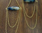 Little Muse Earrings-Multi hued cerulean bead on gold chain chandelier