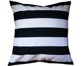 Pillow,  Throw pillow cover,  cushion cover, 16x16 handmade with navy blue  and white stripe michael miller two by two