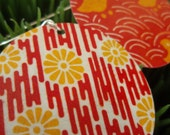 Red and Tangerine Floral Stripe Earrings