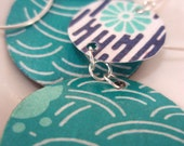 Turquoise and Navy Floral Earrings