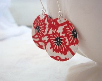 Red Brocade Small Origami Earrings
