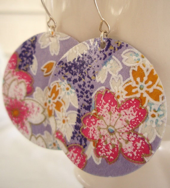 Purple Medium Origami Earrings