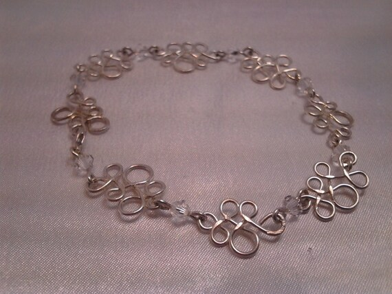 REDUCED - Hand formed Sterling Silver and Swarovski Crystal Bracelet - OOAK
