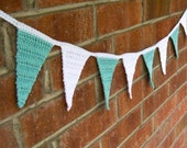 Oceanside -- aqua and white crocheted triangle bunting