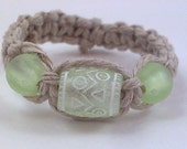 Natural Hemp Ring with Light Green Beads