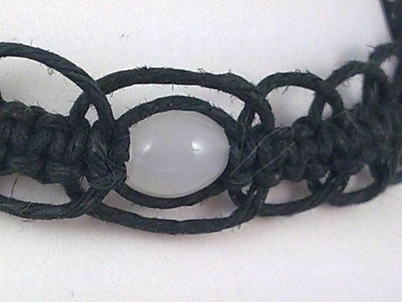 Black Hemp Choker with Milky White Glass Bead