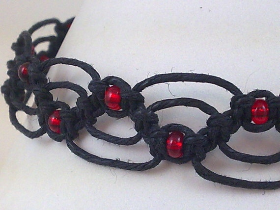 Black Hemp Anklet with Ruby Red Glass Beads