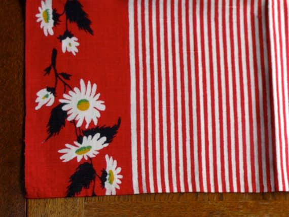 50s Vintage Kitchen Towel Red White Stripes Daisy Border