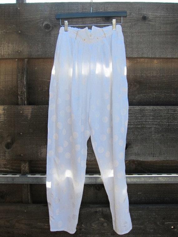 Silky White Polkadot Pants