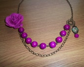 Janey - Beautiful Long Pink Necklace With Chunky Wooden Beads, Lolis Pendant and Fabric Flower