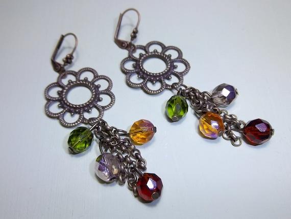 Ring O Roses - Flower Chandelier Earrings