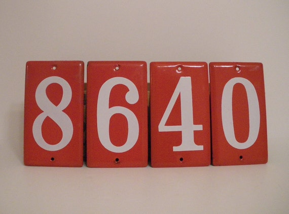 RESERVED 4 CHRISTINA Vi n t a g e  RED Enamel and Porcelain House Only Numbers 8 or 0 are available