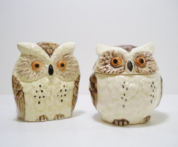 Vi n t a g e ceramic owl kitchen accessories japan 6 pieces Owl kitchen accessories