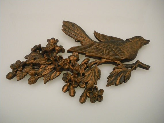 Vi n t a g e  Copper Brown Birds on a Branch Set of Two Syroco 1967