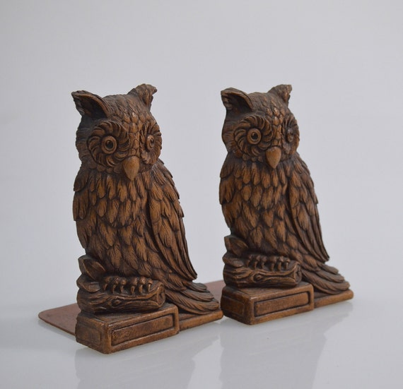 Vi n t a g e  Syroco Wood Owl Bookends Syracuse NY Set of Two