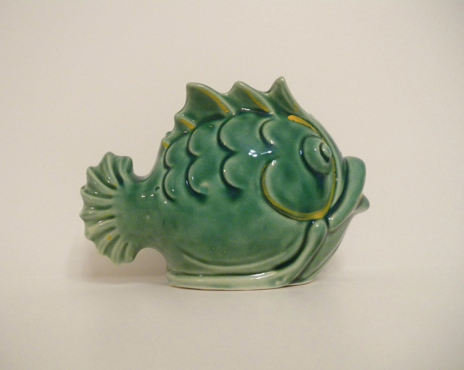 Vi N T A G E Ceramic Fish Wall Pocket Planter Vase Art