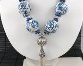 Qing Hua Ci - Chinese Porcelain and Lapis Lazuli Tassel Statement Necklace
