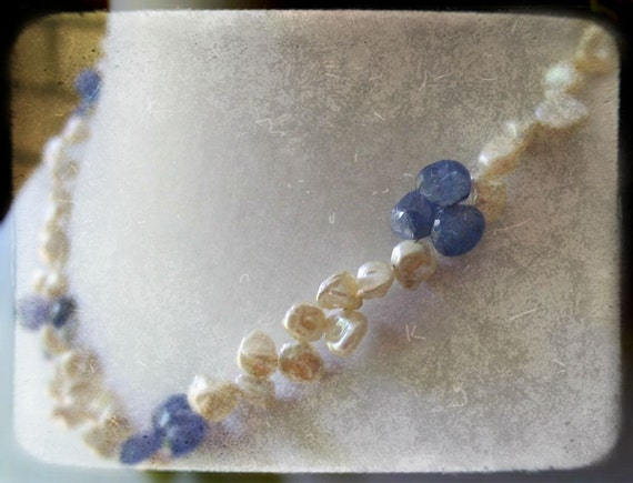 Lady Wedgwood - Keishi Pearl and Tanzanite Necklace