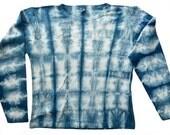 Shibori indigo-dyed long-sleeve shirt