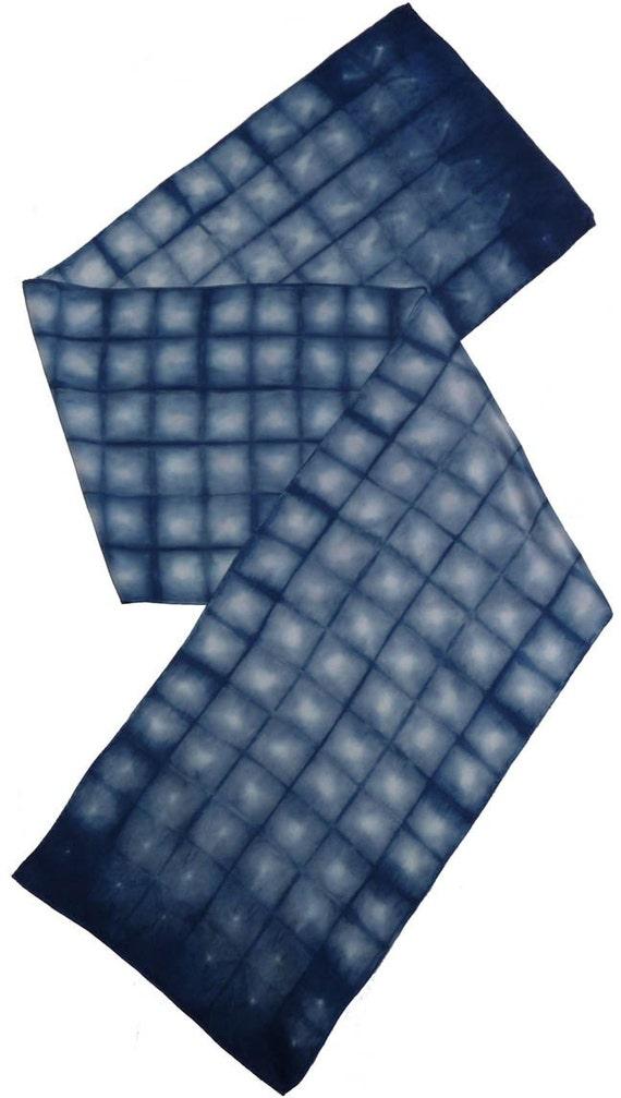 Indigo dyed silk charmeuse shibori scarf