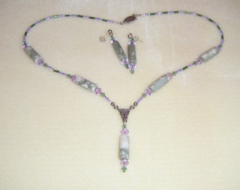 Peace jade necklace and earrings