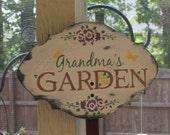 Grandma's GARDEN  Decorative Sign w/stake/Garden Sign/Door Sign/Porch Sign/Shabby Chic/Cottage/Wood Sign/ Garden/ Flowers/ Gardener/Outside