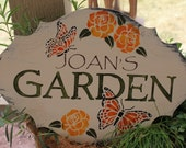 GARDEN Sign Personalized Decorative Bufferfly/Roses w/stake or ribbon/Gift/Garden Sign/Door Sign/Porch Sign/Burgandy/S