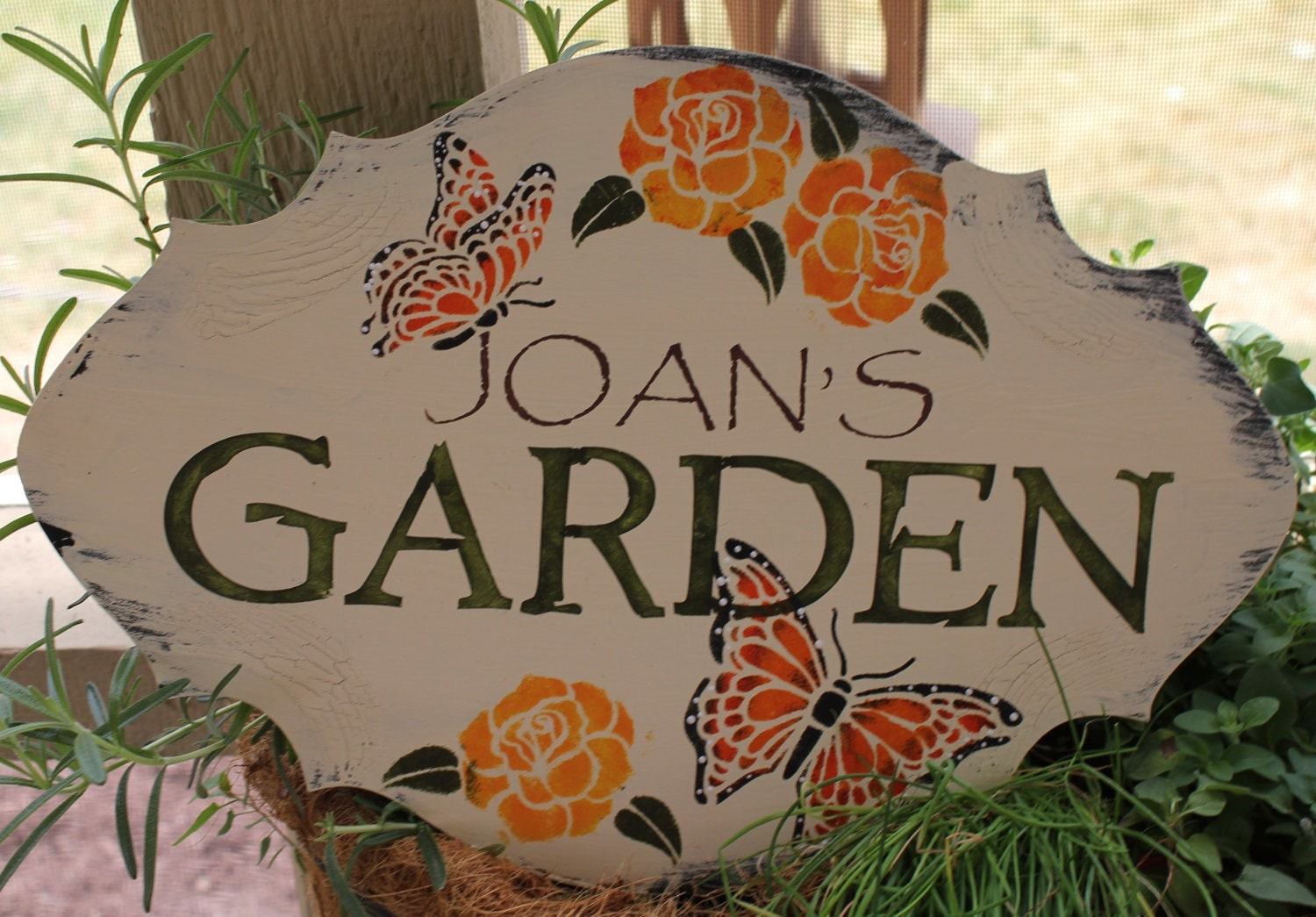 Garden sign personalized decorative bufferfly roses w stake or for Outdoor decorative signs